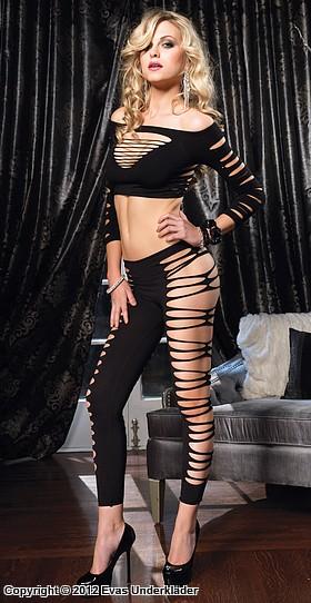 Topp och leggings med öppningar